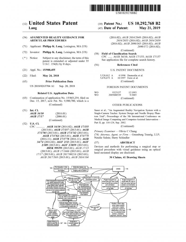 Patent 10292768 - onPoint Intellectual Property